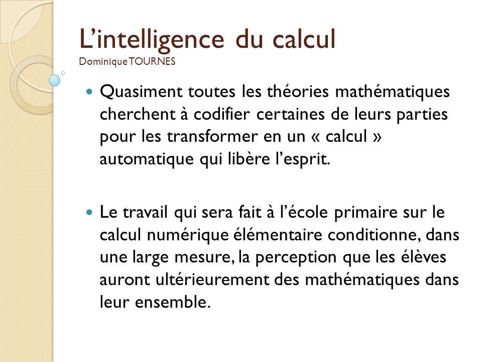 L'intelligence du calcul Dominique TOURNES