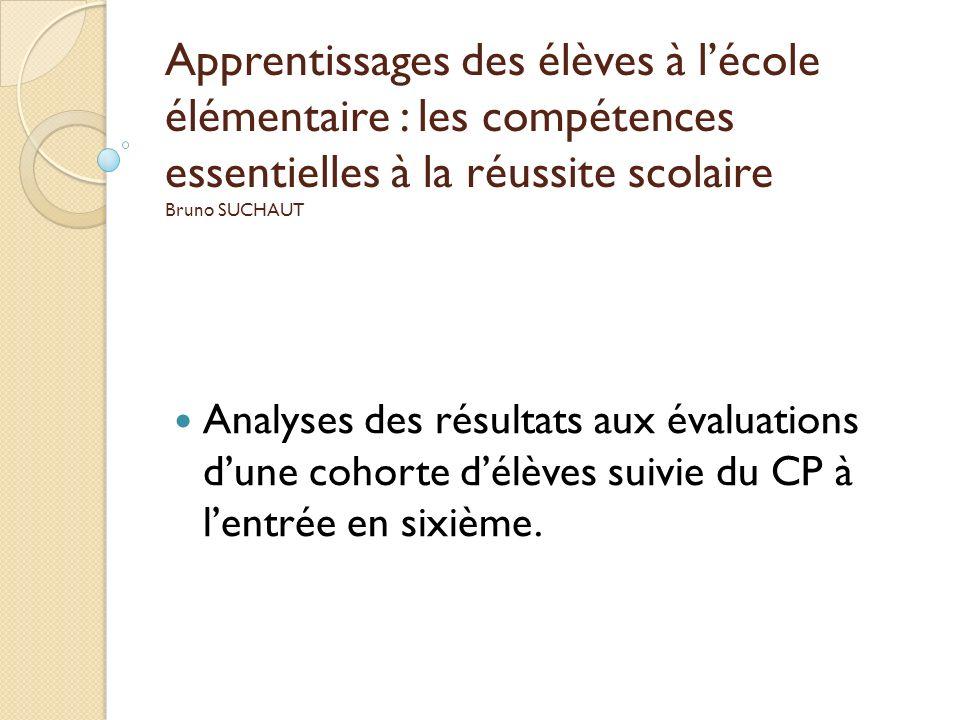 Apprentissages des élèves à l'école élémentaire : les compétences essentielles à la réussite scolaire Bruno SUCHAUT