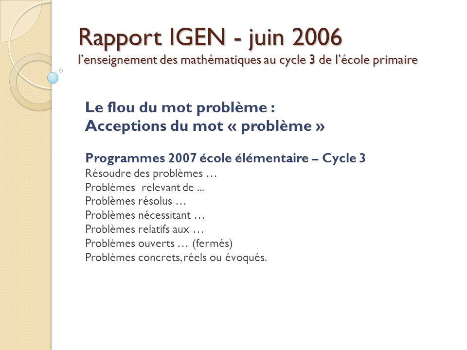Rapport IGEN - juin 2006 l'enseignement des mathématiques au cycle 3 de l'école primaire