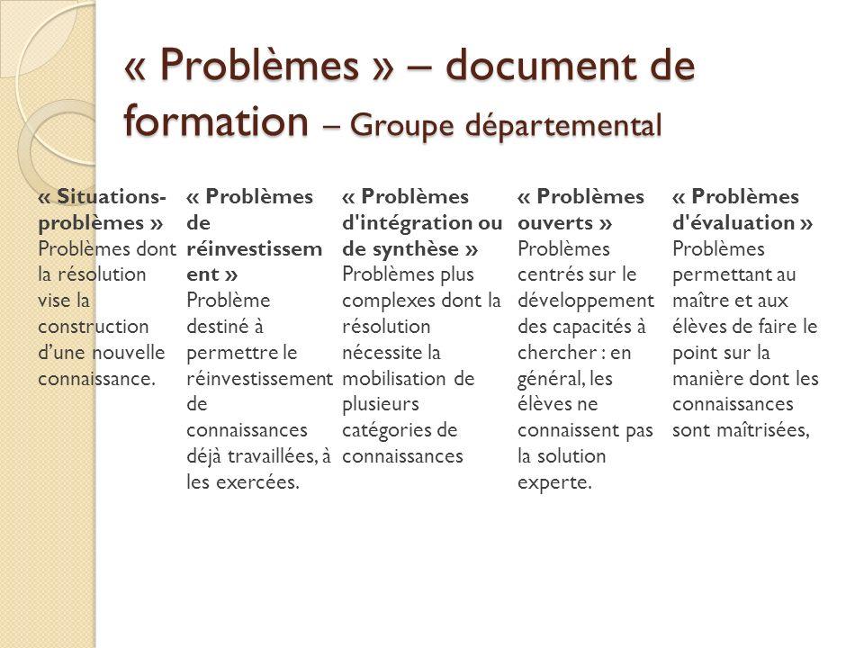 « Problèmes » – document de formation – Groupe départemental