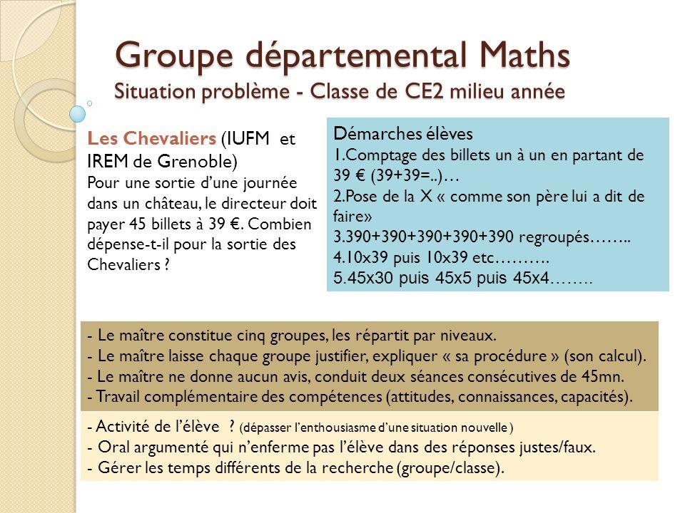 Groupe départemental Maths Situation problème - Classe de CE2 milieu année