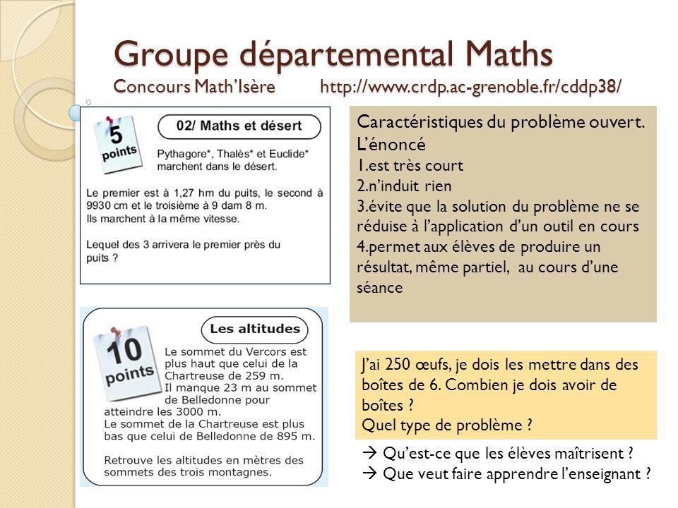 Groupe départemental Maths Concours Math'Isère http://www. crdp