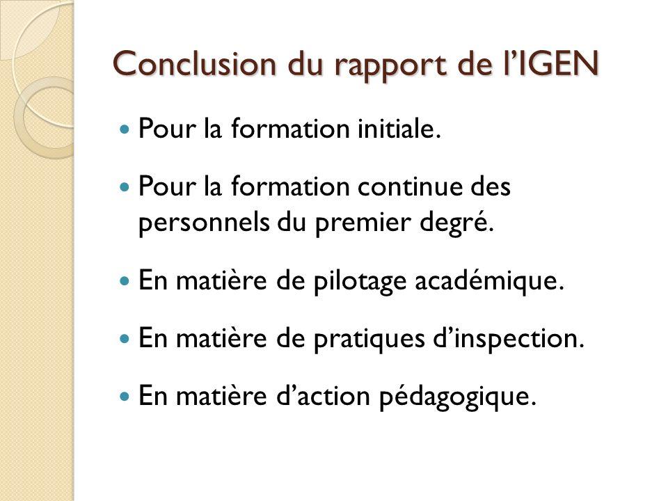 Conclusion du rapport de l'IGEN