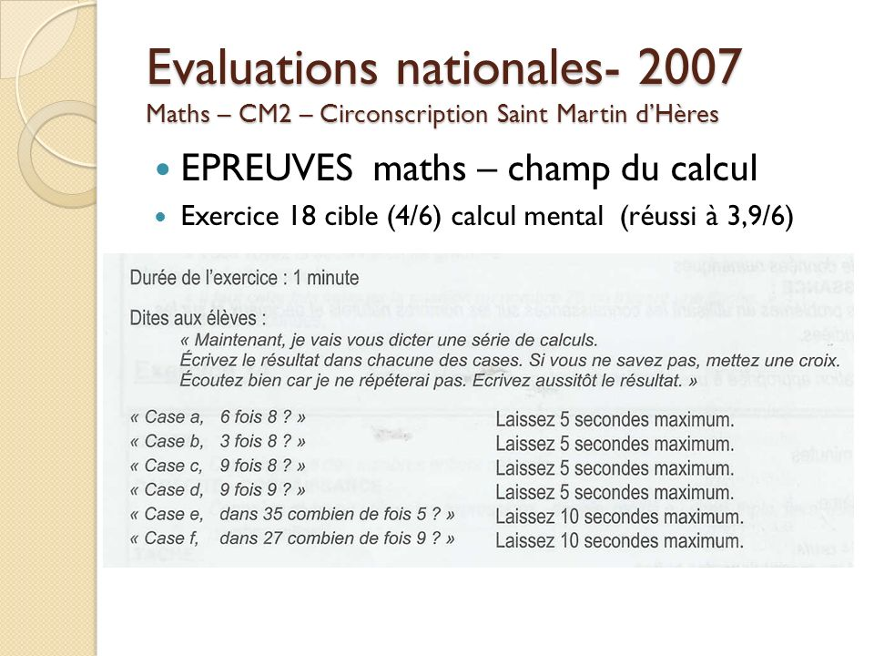 Evaluations nationales Maths – CM2 – Circonscription Saint Martin d'Hères
