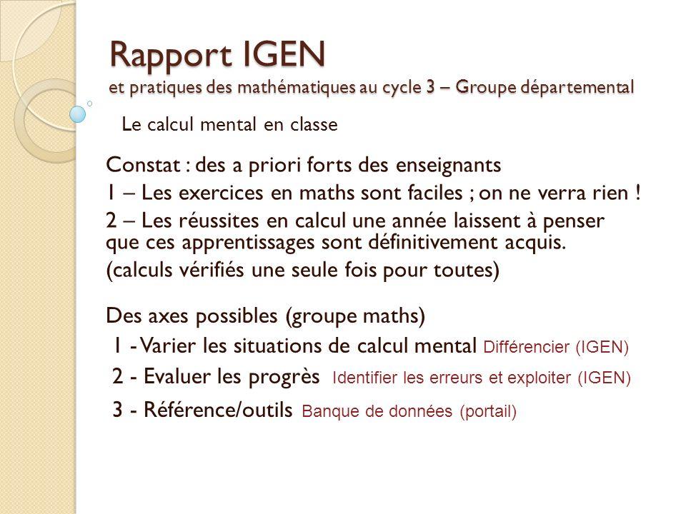 Rapport IGEN et pratiques des mathématiques au cycle 3 – Groupe départemental