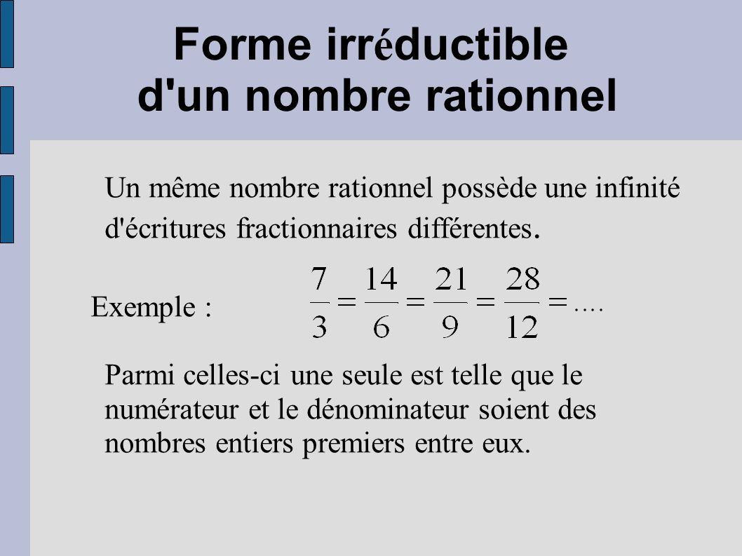 Forme irréductible d un nombre rationnel