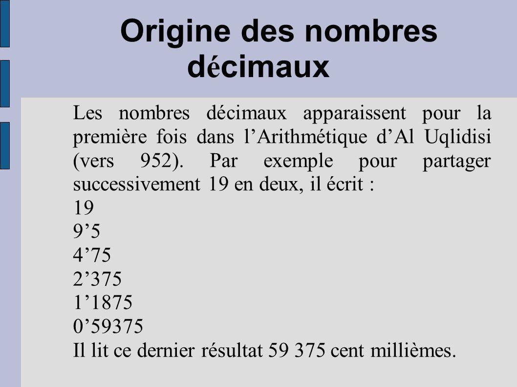 Origine des nombres décimaux