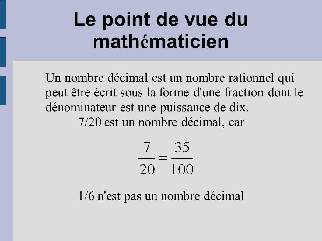 Le point de vue du mathématicien