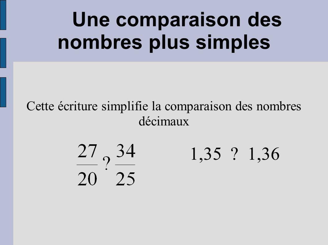 Une comparaison des nombres plus simples