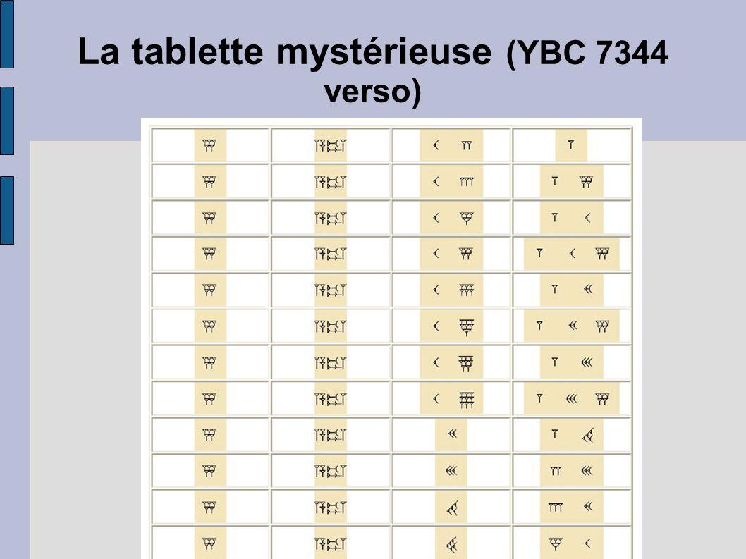 La tablette mystérieuse (YBC 7344 verso)