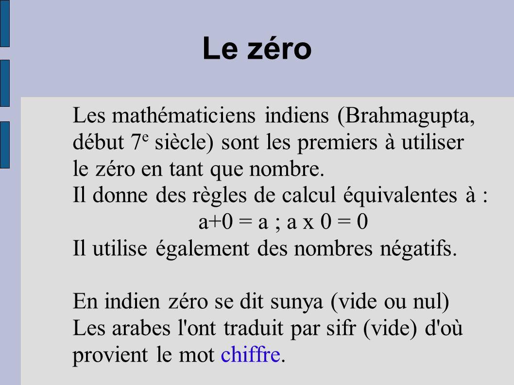 Le zéroLes mathématiciens indiens (Brahmagupta, début 7e siècle) sont les premiers à utiliser le zéro en tant que nombre.