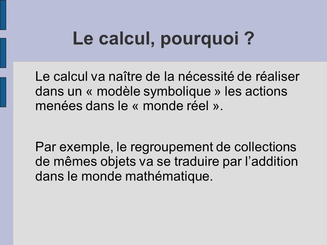 Le calcul, pourquoi Le calcul va naître de la nécessité de réaliser dans un « modèle symbolique » les actions menées dans le « monde réel ».