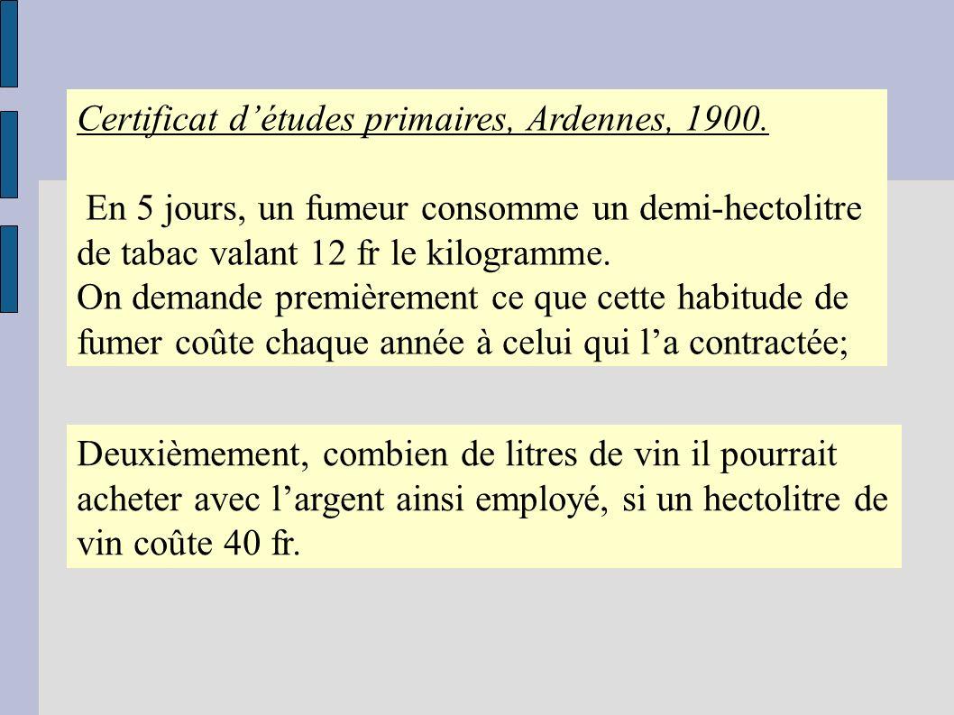 Certificat d'études primaires, Ardennes, 1900.