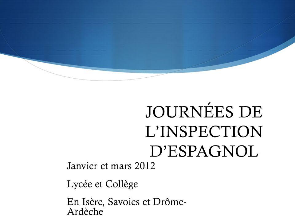 JOURNÉES DE L'INSPECTION D'ESPAGNOL