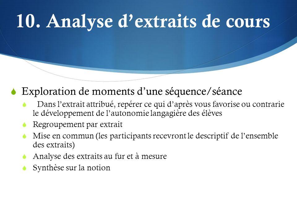 10. Analyse d'extraits de cours