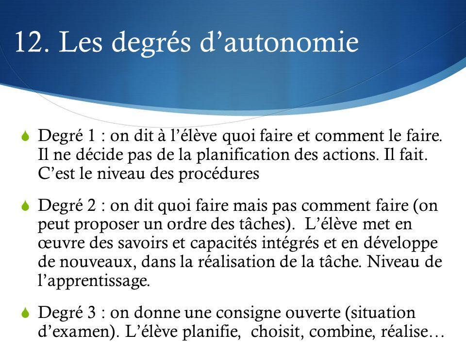 12. Les degrés d'autonomie