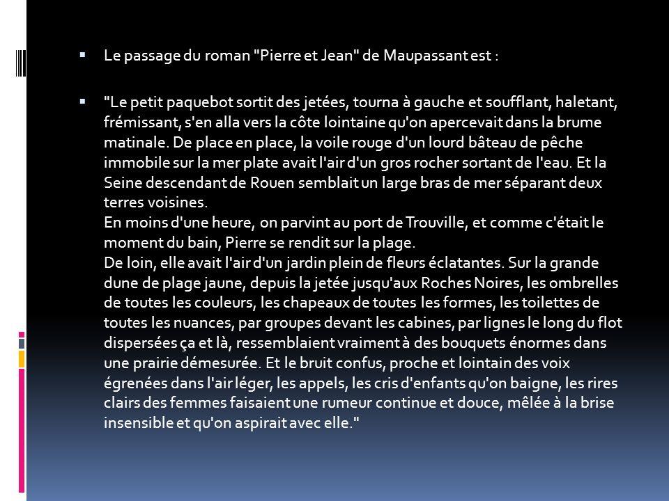 Le passage du roman Pierre et Jean de Maupassant est :