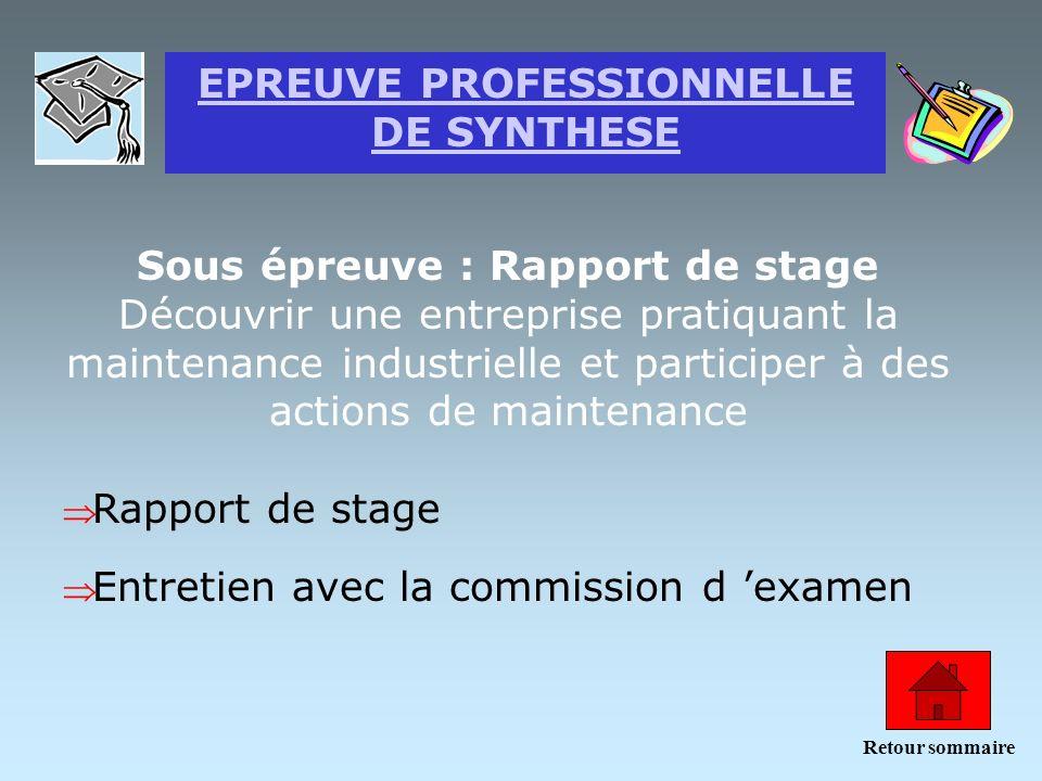 EPREUVE PROFESSIONNELLE DE SYNTHESE