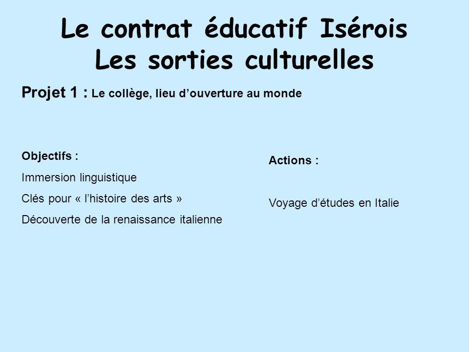 Le contrat éducatif Isérois Les sorties culturelles
