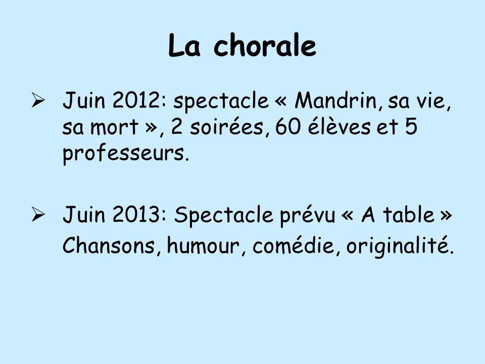 La chorale Juin 2012: spectacle « Mandrin, sa vie, sa mort », 2 soirées, 60 élèves et 5 professeurs.