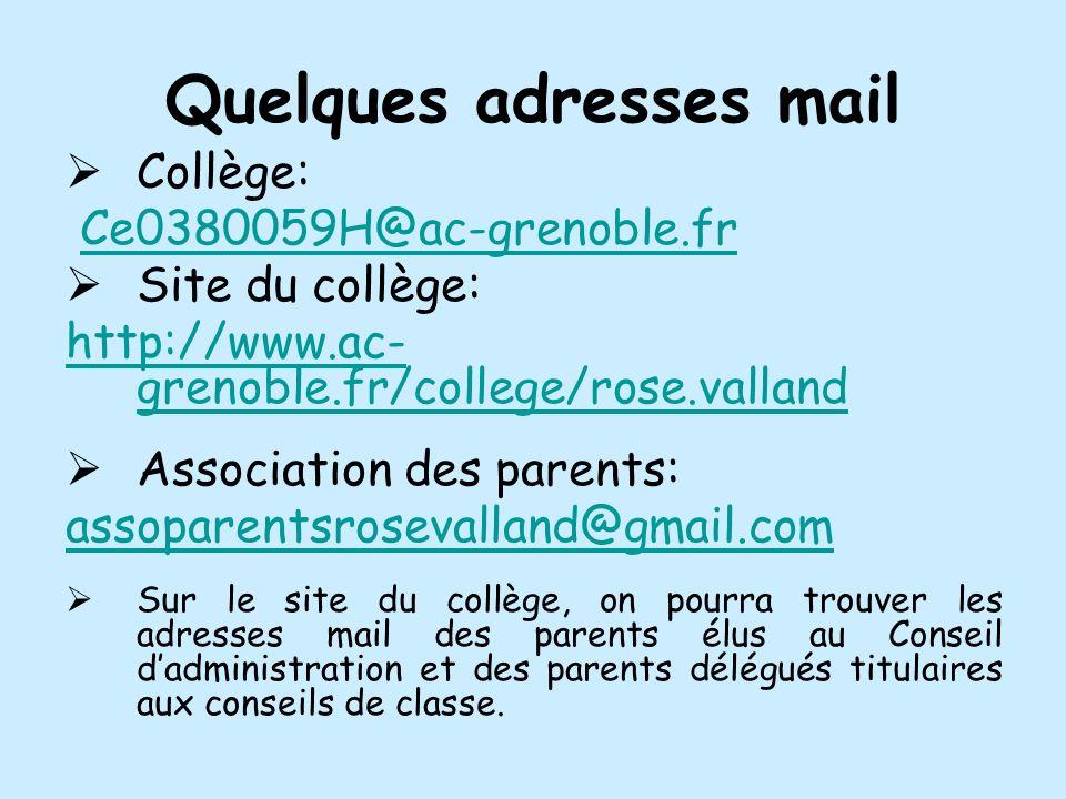 Quelques adresses mail