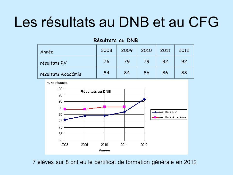 Les résultats au DNB et au CFG