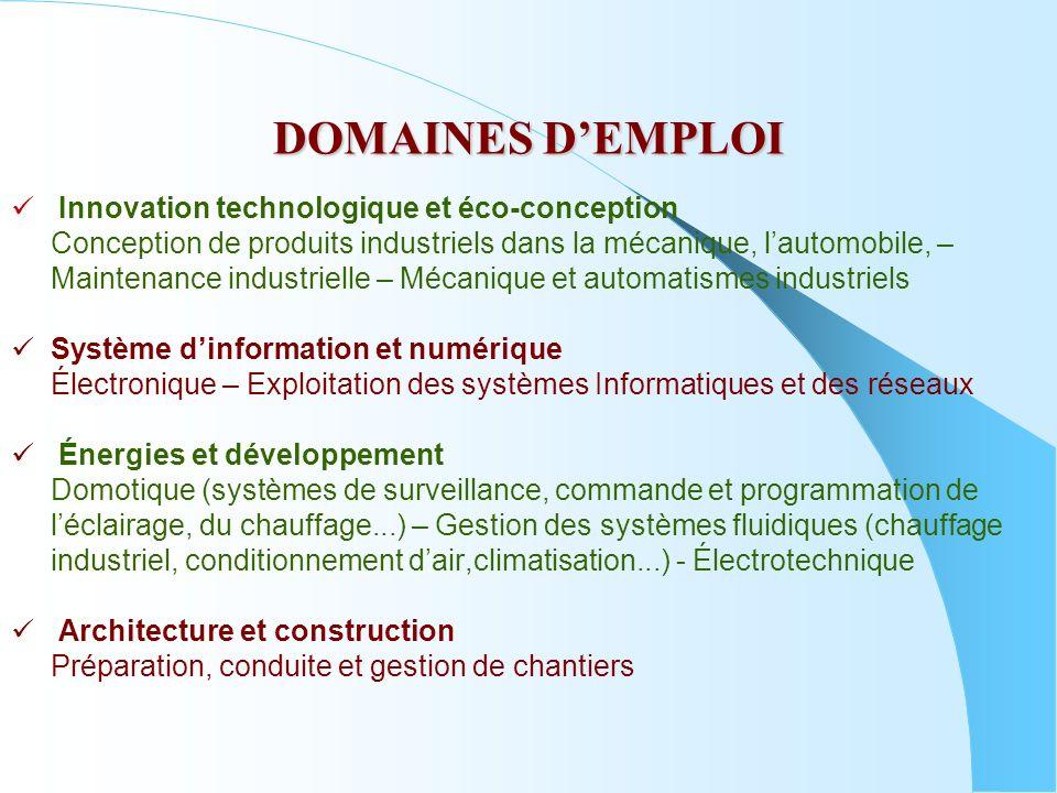 DOMAINES D'EMPLOI Innovation technologique et éco-conception