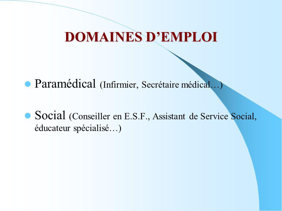 DOMAINES D'EMPLOI Paramédical (Infirmier, Secrétaire médical…)