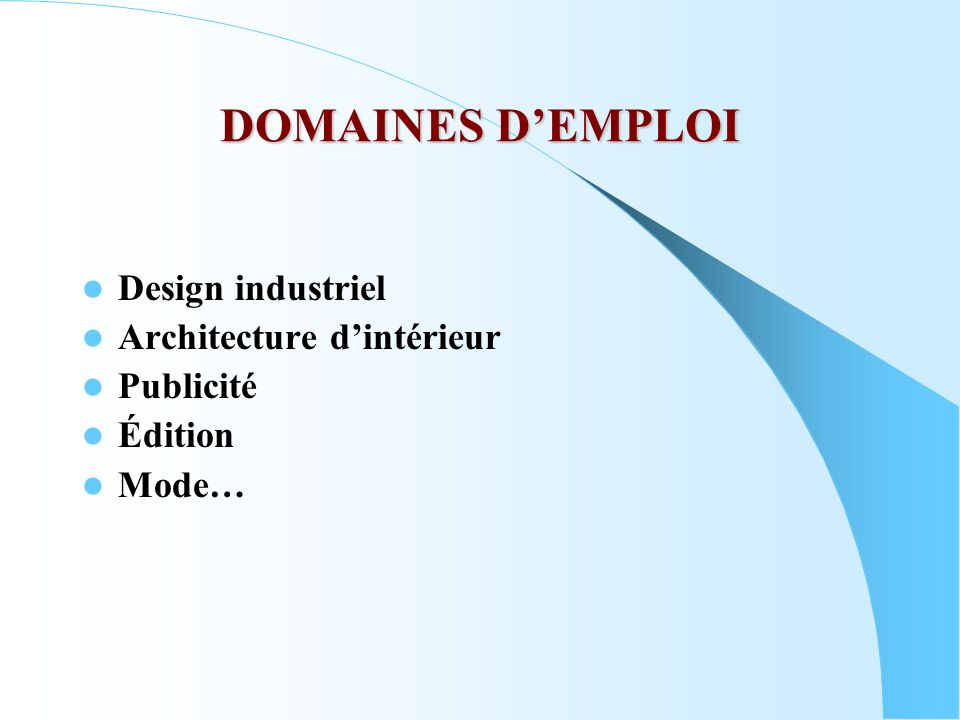 DOMAINES D'EMPLOI Design industriel Architecture d'intérieur Publicité