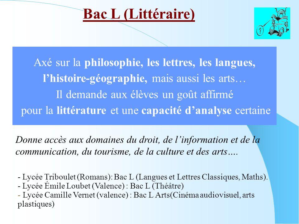 Bac L (Littéraire) Axé sur la philosophie, les lettres, les langues,