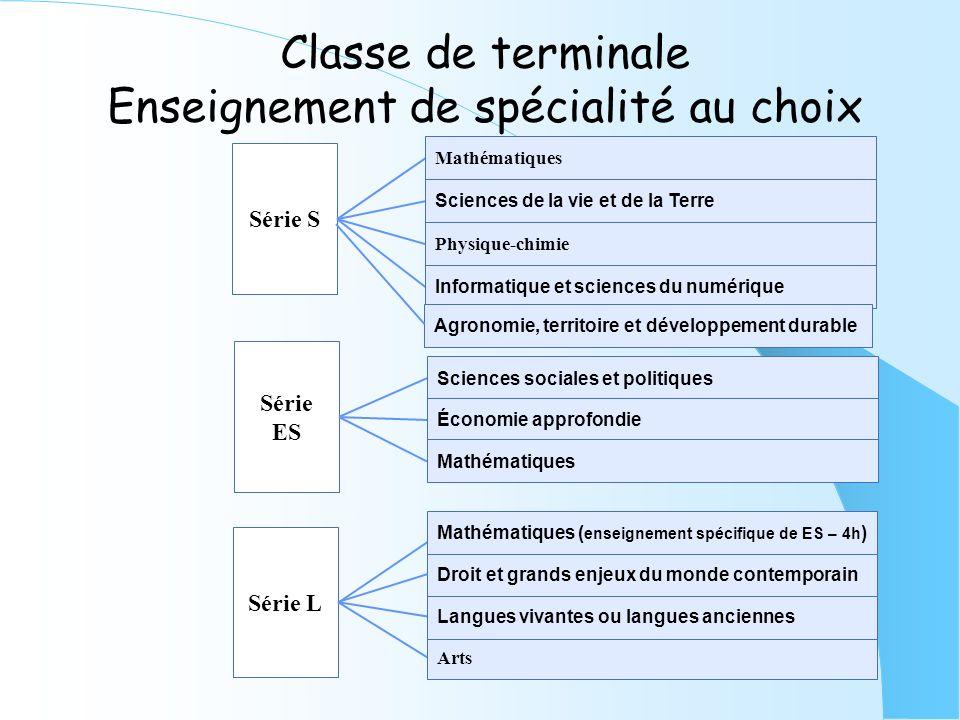 Classe de terminale Enseignement de spécialité au choix