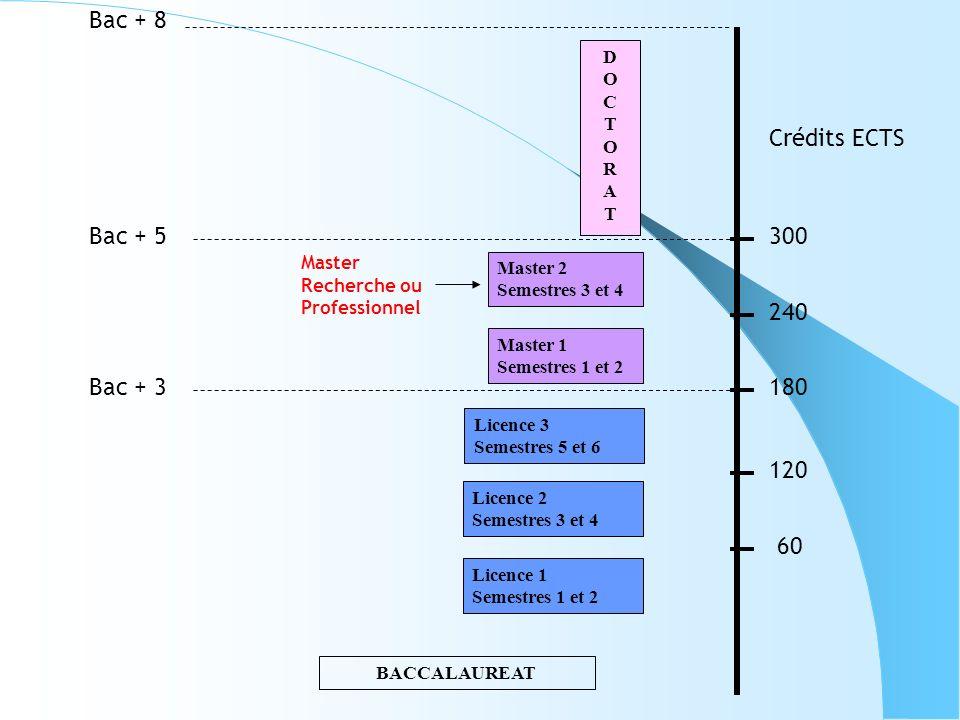 Bac + 8 Crédits ECTS Bac + 5 300 240 Bac + 3 180 120 60 D O C T R A