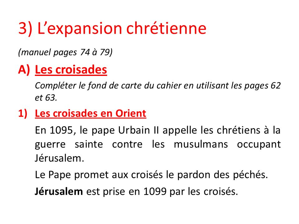 3) L'expansion chrétienne