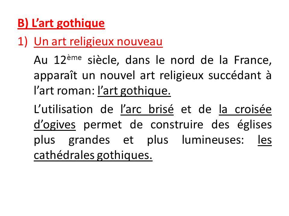 B) L'art gothiqueUn art religieux nouveau.