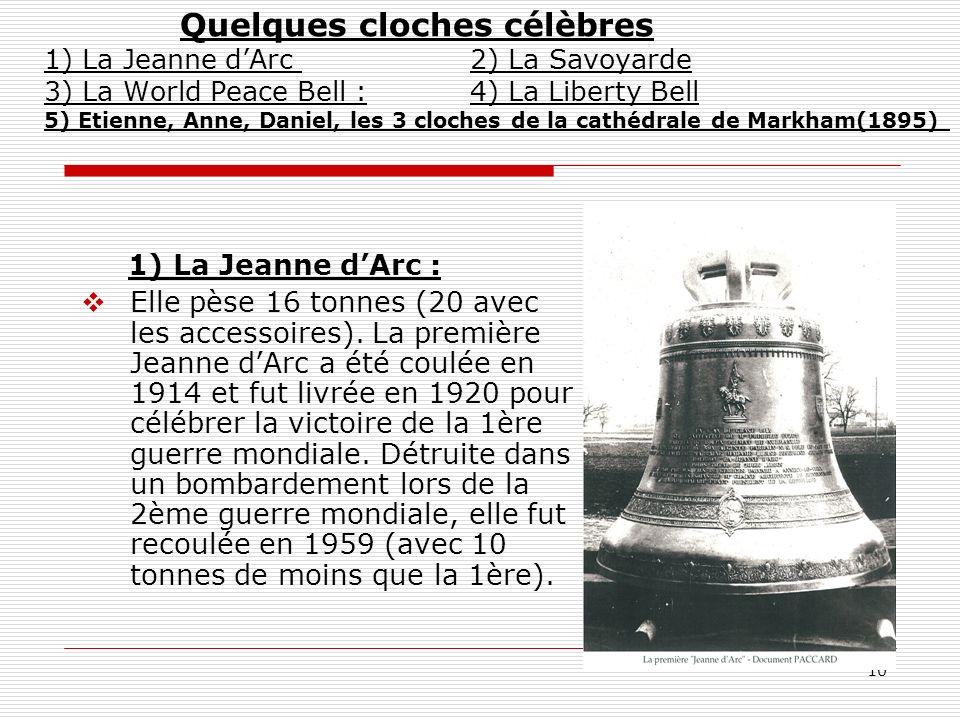 Quelques cloches célèbres 1) La Jeanne d'Arc 2) La Savoyarde 3) La World Peace Bell : 4) La Liberty Bell 5) Etienne, Anne, Daniel, les 3 cloches de la cathédrale de Markham(1895)