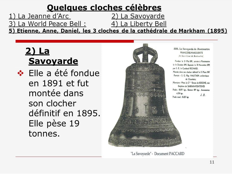 Quelques cloches célèbres 1) La Jeanne d'Arc 2) La Savoyarde 3) La World Peace Bell : 4) La Liberty Bell 5) Etienne, Anne, Daniel, les 3 cloches de la cathédrale de Markham (1895)