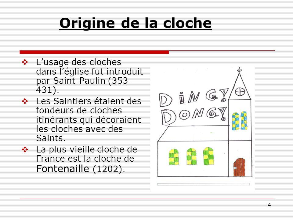 Origine de la cloche L'usage des cloches dans l'église fut introduit par Saint-Paulin (353-431).