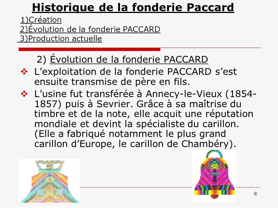 Historique de la fonderie Paccard 1)Création 2)Évolution de la fonderie PACCARD 3)Production actuelle