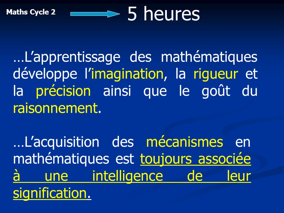 5 heuresMaths Cycle 2. …L'apprentissage des mathématiques développe l'imagination, la rigueur et la précision ainsi que le goût du raisonnement.