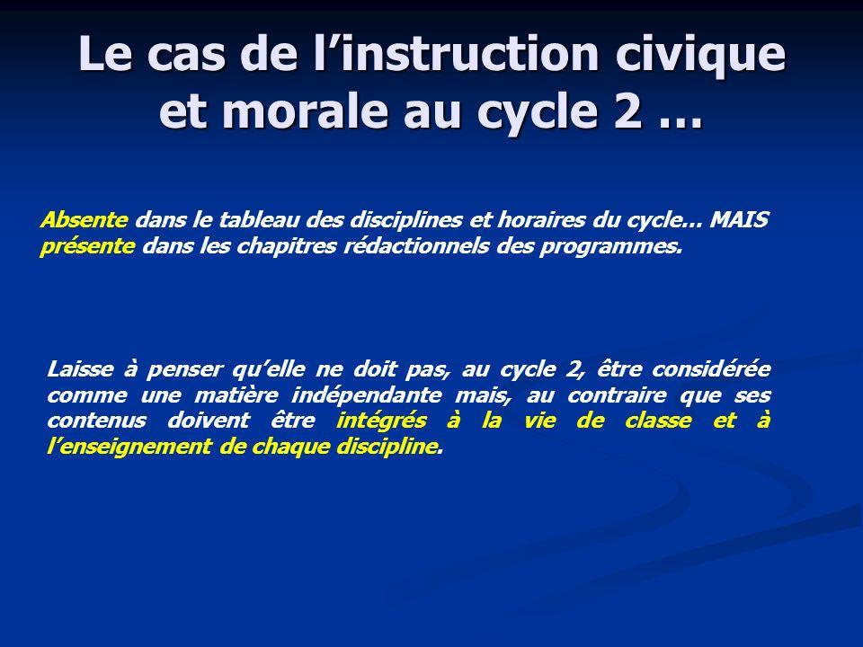 Le cas de l'instruction civique et morale au cycle 2 …