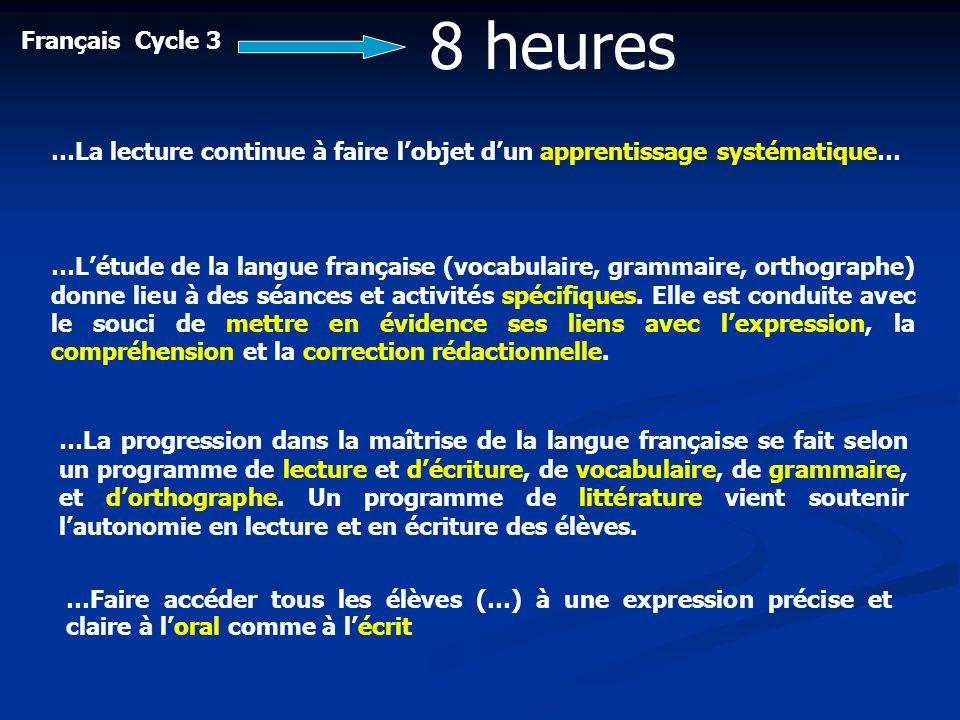 8 heuresFrançais Cycle 3. …La lecture continue à faire l'objet d'un apprentissage systématique…