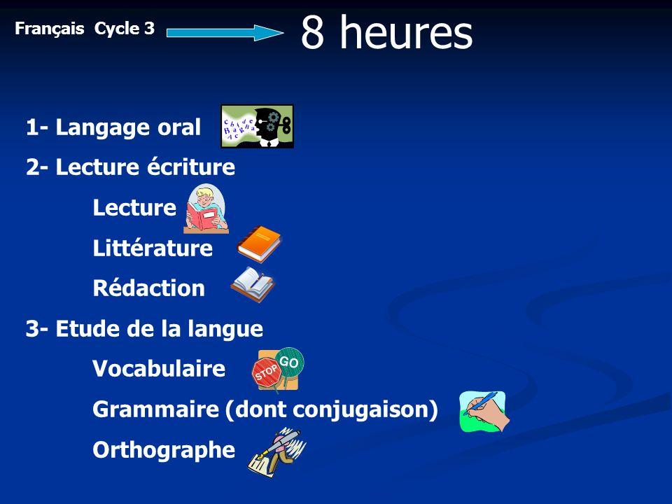 8 heures 1- Langage oral 2- Lecture écriture Lecture Littérature