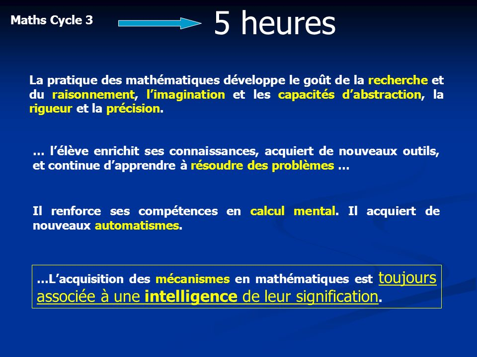 5 heures Maths Cycle 3.