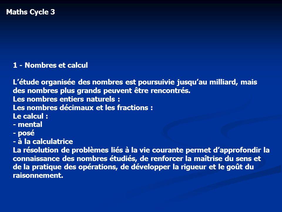 Maths Cycle 3 1 - Nombres et calcul.