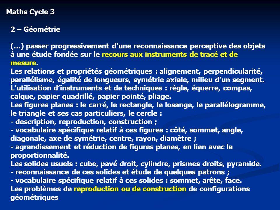 Maths Cycle 32 – Géométrie.