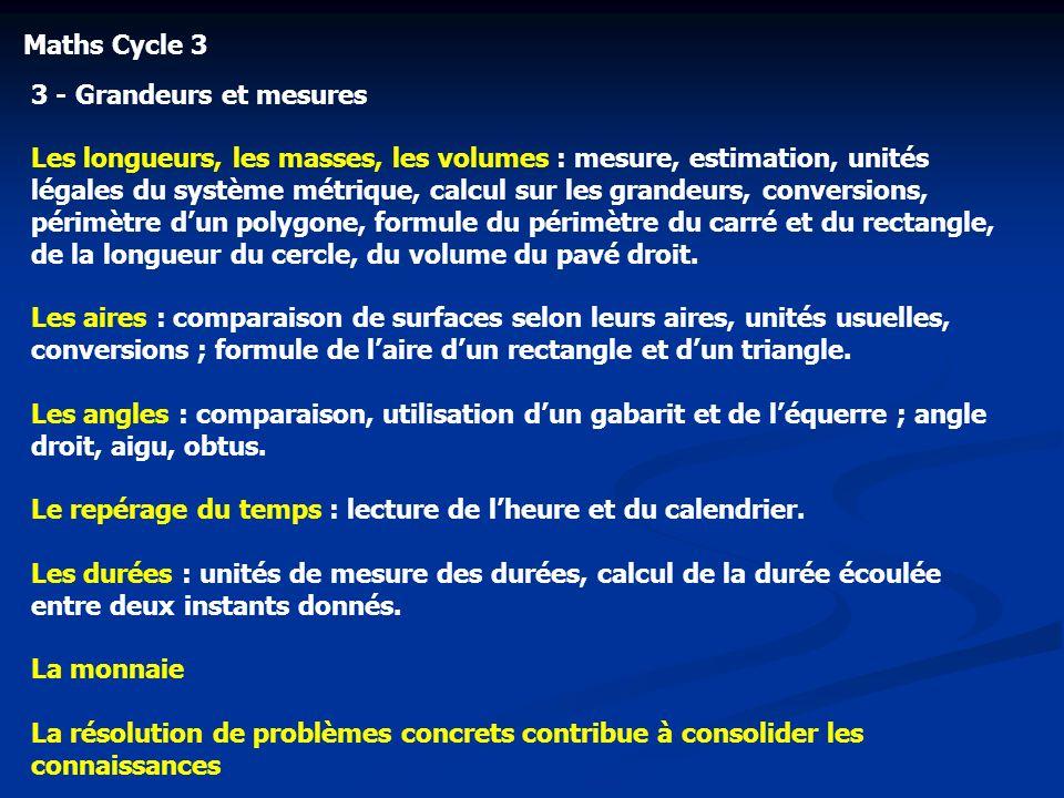 Maths Cycle 33 - Grandeurs et mesures.
