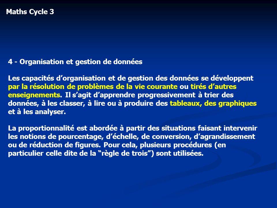 Maths Cycle 34 - Organisation et gestion de données.