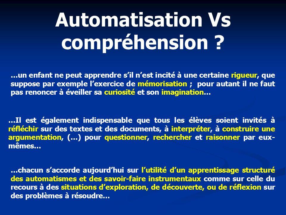 Automatisation Vs compréhension
