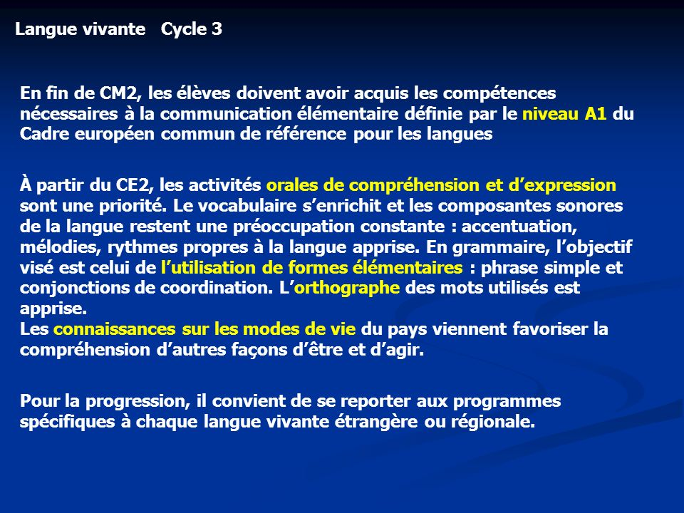 Langue vivante Cycle 3