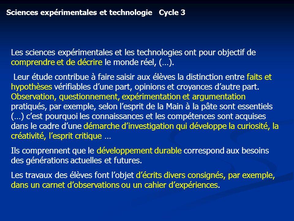 Sciences expérimentales et technologie Cycle 3